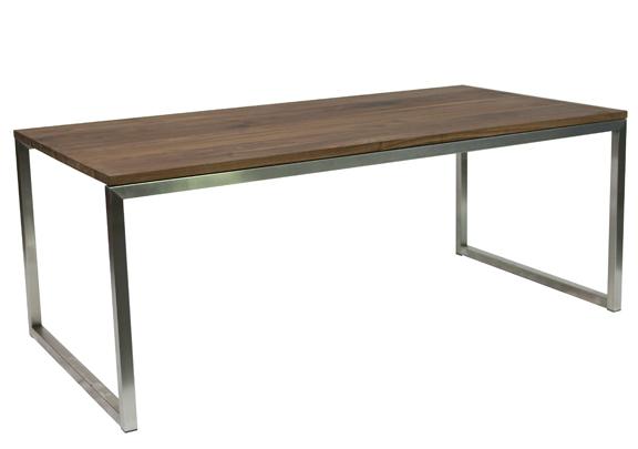 Rvs tafel met eiken blad  cm luxe tafels