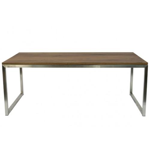 RVS tafel met eiken houtenblad