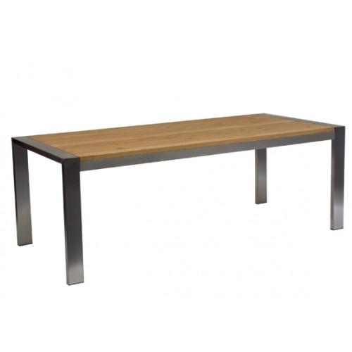 RVS Tafel met eiken tafelblad